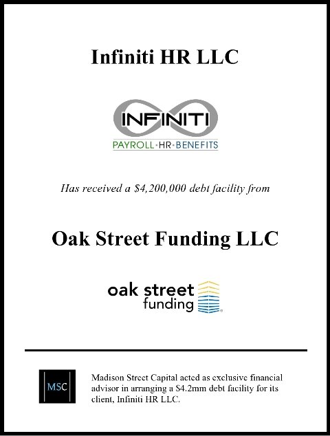 Madison Street Capital Acts as Exclusive Financial Advisor to Infiniti HR in Arranging a $4.3M Growth Capital Facility with Oak Street Funding